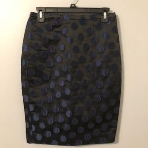 NWT J. Crew Black with Blue Dots Skirt Size 2P